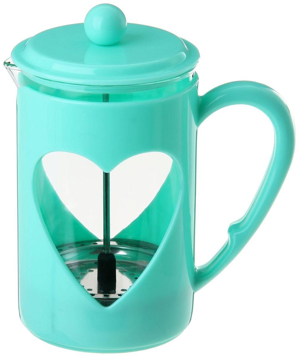 Френч-пресс Доляна Комплимент, цвет: бирюзовый, прозрачный, 800 млVT-1520(SR)Френч-пресс Доляна Комплимент - замечательное приспособление для приготовления чая и кофе. Он пользуется огромным спросом у любителей этих напитков, ведь изделие довольно простое в использовании и имеет ряд преимуществ. Чай в нем быстрее заваривается, емкость позволяет наиболее полно раскрыться вкусовым качествам напитка. Вы можете готовить кофе и чай с любимыми специями и травами.Чтобы приготовить кофе, сначала вам нужно перемолоть зерна. Степень помола - грубая. Вскипятите воду. Насыпьте кофе в изделие и медленно залейте его кипятком из чайника. Наполните приспособление до середины, подождите 1 минуту и долейте остальное. Накройте крышкой, пусть напиток настоится еще 3 минуты. Медленно опустите поршень. Оставьте кофе на 3 минуты, чтобы опустился осадок. Ваш напиток готов!