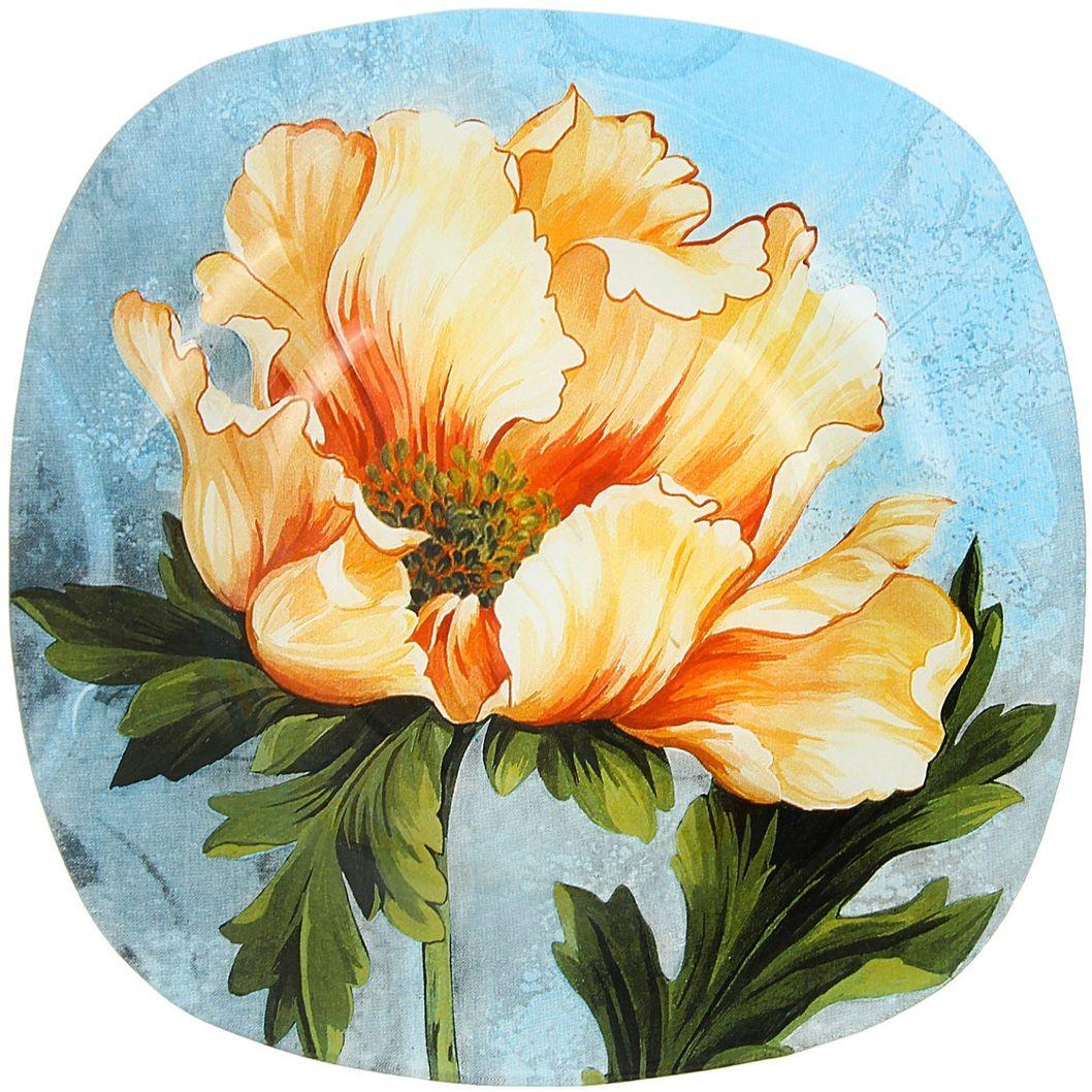 Тарелка глубокая Доляна Розовый пион, диаметр 20 см115510Тарелка Доляна с природными мотивами в оформлении разнообразит интерьер кухни и сделает застолье самобытным и запоминающимся. Качественное стекло не впитывает запахов, гладкая поверхность обеспечивает легкость мытья.Рекомендуется избегать использования абразивных моющих средств.Делайте любимый дом уютнее!