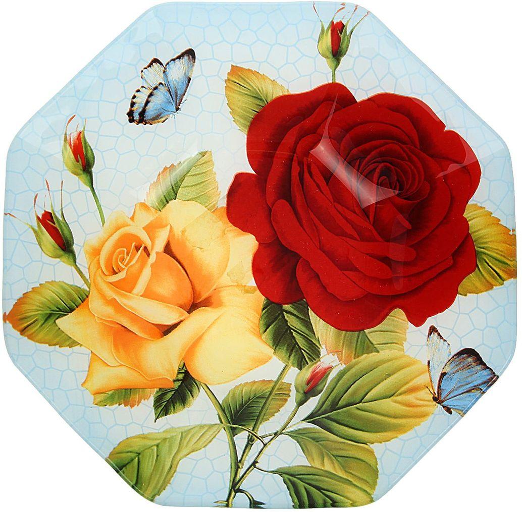 Тарелка глубокая Доляна Розы на голубом, диаметр 22 см54 009312Тарелка Доляна с природными мотивами в оформлении разнообразит интерьер кухни и сделает застолье самобытным и запоминающимся. Качественное стекло не впитывает запахов, гладкая поверхность обеспечивает легкость мытья.Рекомендуется избегать использования абразивных моющих средств.Делайте любимый дом уютнее!