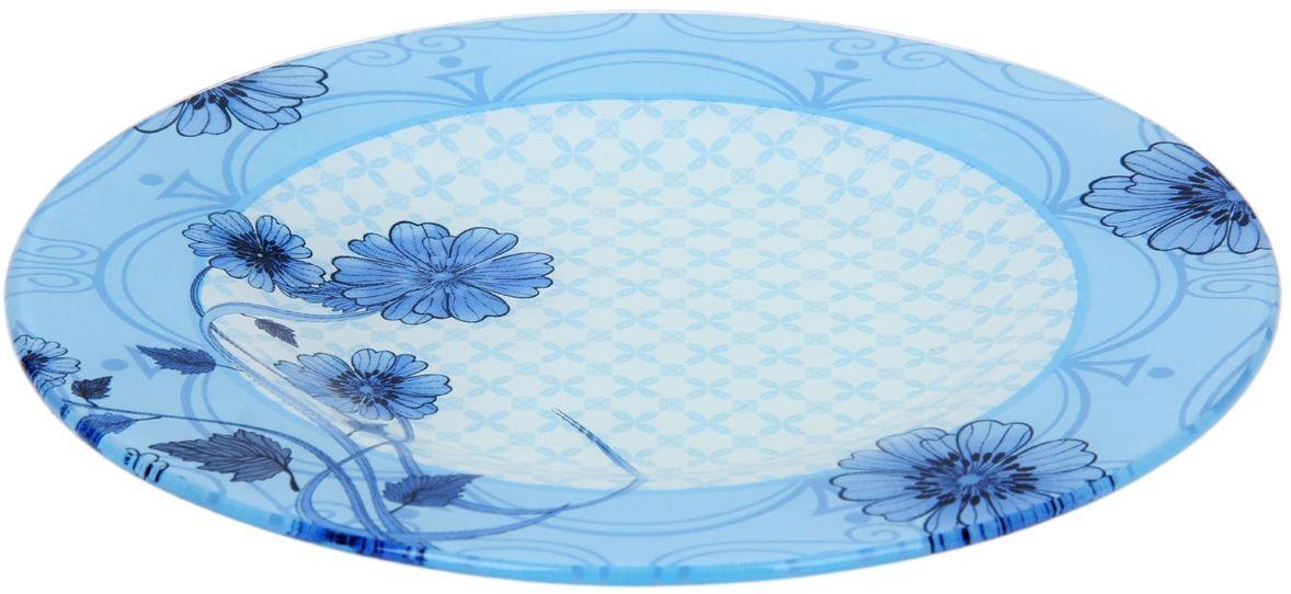 Тарелка Доляна Голубой восторг, диаметр 25 см115510Тарелка Доляна с природными мотивами в оформлении разнообразит интерьер кухни и сделает застолье самобытным и запоминающимся. Качественное стекло не впитывает запахов, гладкая поверхность обеспечивает легкость мытья.Рекомендуется избегать использования абразивных моющих средств.Делайте любимый дом уютнее!