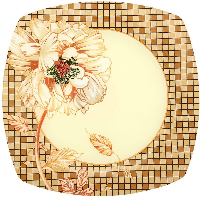 Тарелка Доляна Клетка, диаметр 25 см54 009312Тарелка Доляна с природными мотивами в оформлении разнообразит интерьер кухни и сделает застолье самобытным и запоминающимся. Качественное стекло не впитывает запахов, гладкая поверхность обеспечивает легкость мытья.Рекомендуется избегать использования абразивных моющих средств.Делайте любимый дом уютнее!