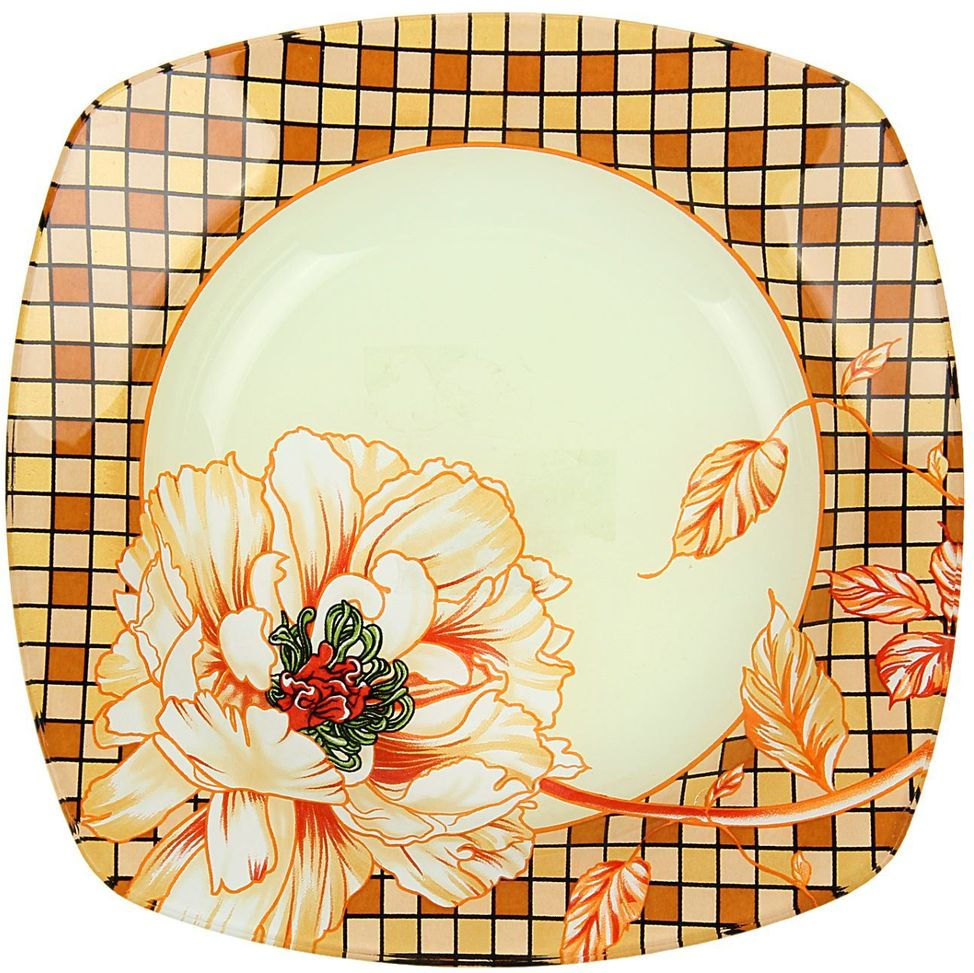 Тарелка глубокая Доляна Клетка, 20 х 20 см115610Тарелка Доляна с природными мотивами в оформлении разнообразит интерьер кухни и сделает застолье самобытным и запоминающимся. Качественное стекло не впитывает запахов, гладкая поверхность обеспечивает легкость мытья.Рекомендуется избегать использования абразивных моющих средств.Делайте любимый дом уютнее!