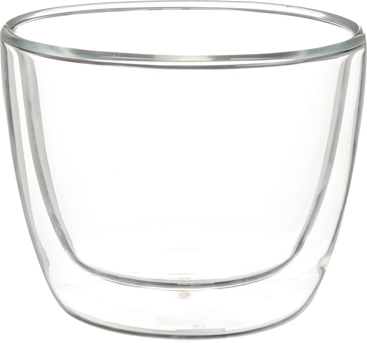 Набор термостаканов Bodum Bistro, 450 мл, 2 шт115510Набор Bodum Bistro состоит из двух термостаканов. Изделия изготовлены из жаростойкого и прочного боросиликатного стекла. Наличие двойных стенок позволяет термостаканам дольше сохранять первоначальную температуру напитка. Прослойка воздуха не даст обжечься, если в стакан налит горячий напиток. Идеально подходят для подачи горячего молока, чая или кофе. Можно использовать в СВЧ-печи, духовке, холодильнике и мыть в посудомоечной машине. Диаметр термостакана (по верхнему краю): 10 см.Объем стакана: 450 мл.