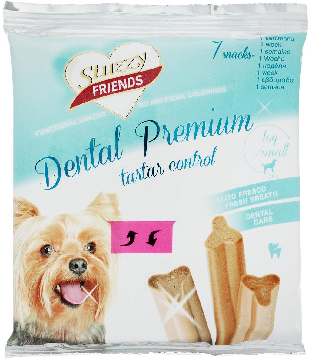 Лакомство для взрослых собак Stuzzy Friend. Dental Premium, для собак до 12 кг, 110 г, 7 шт0120710Палочки Stuzzy Friends. Dental Premium - вкусное и здоровое угощение для собак. Лакомство обогащено таурином и витамином Е для поддержания правильной работы сердца и иммунной системы. Инулин обеспечивает всасывание питательных веществ, а биотин способствуют великолепному внешнему виду кожи и шерсти. Оригинальная форма и текстура помогают чистить зубы собаки от налета. Не содержат искусственных красителей. Лакомство предназначено для собак миниатюрных и мелких пород до 12 кг. Товар сертифицирован.