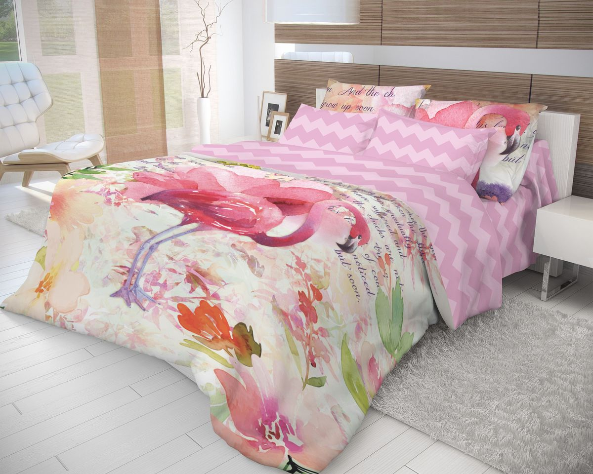 Комплект белья Волшебная ночь Flamingo, 2-спальный с простыней евро, наволочки 70х70, цвет: светло-сиреневый, розовый10503Роскошный комплект постельного белья Волшебная ночь Flamingo выполнен из натурального ранфорса (100% хлопка) и оформлен оригинальным рисунком. Комплект состоит из пододеяльника, простыни и двух наволочек. Ранфорс - это новая современная гипоаллергенная ткань из натуральных хлопковых волокон, которая прекрасно впитывает влагу, очень проста в уходе, а за счет высокой прочности способна выдерживать большое количество стирок. Высочайшее качество материала гарантирует безопасность.