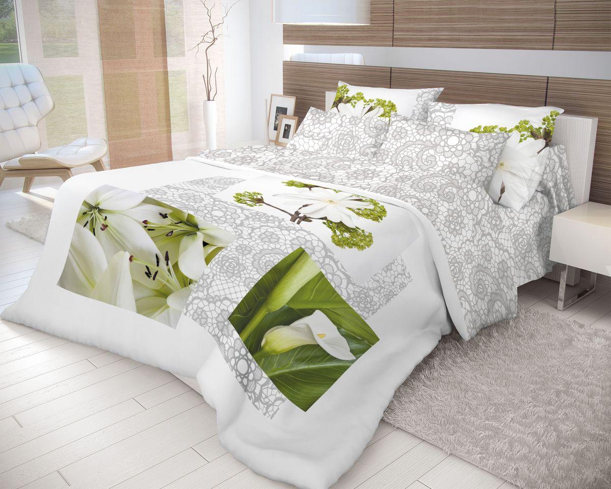 Комплект белья Волшебная ночь Nezhnost, 2-спальный, наволочки 70х70, цвет: зеленый, серый, белый. 710564S03301004Роскошный комплект постельного белья Волшебная ночь Nezhnost выполнен из натурального ранфорса (100% хлопка) и оформлен оригинальным рисунком. Комплект состоит из пододеяльника, простыни и двух наволочек. Ранфорс - это новая современная гипоаллергенная ткань из натуральных хлопковых волокон, которая прекрасно впитывает влагу, очень проста в уходе, а за счет высокой прочности способна выдерживать большое количество стирок. Высочайшее качество материала гарантирует безопасность.