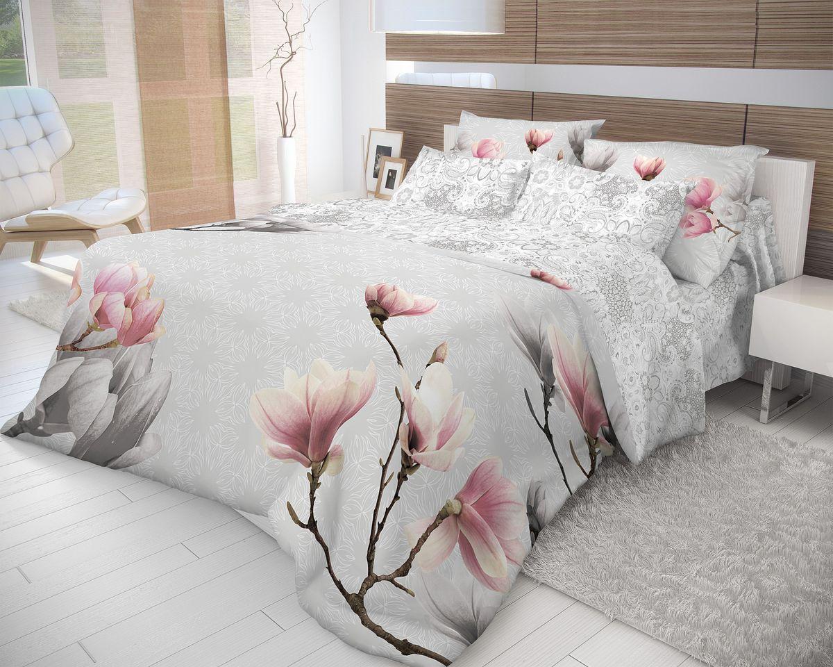 Комплект белья Волшебная ночь Cameo, 2-спальный с простыней на резинке, наволочки 70х70, цвет: белый, серый, розовый. 710606391602Роскошный комплект постельного белья Волшебная ночь Cameo выполнен из натурального ранфорса (100% хлопка) и оформлен оригинальным рисунком. Комплект состоит из пододеяльника, простыни и двух наволочек. Ранфорс - это новая современная гипоаллергенная ткань из натуральных хлопковых волокон, которая прекрасно впитывает влагу, очень проста в уходе, а за счет высокой прочности способна выдерживать большое количество стирок. Высочайшее качество материала гарантирует безопасность.
