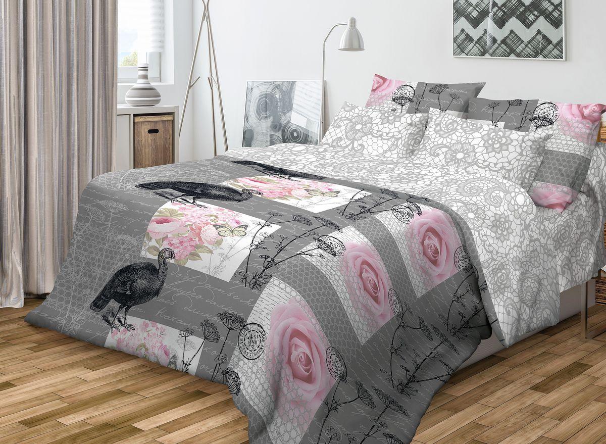 Комплект белья Волшебная ночь Coco, 2-спальный с простыней на резинке, наволочки 70х70, цвет: темно-серый, розовый, белый. 71060710503Роскошный комплект постельного белья Волшебная ночь Coco выполнен из натурального ранфорса (100% хлопка) и оформлен оригинальным рисунком. Комплект состоит из пододеяльника, простыни и двух наволочек. Ранфорс - это новая современная гипоаллергенная ткань из натуральных хлопковых волокон, которая прекрасно впитывает влагу, очень проста в уходе, а за счет высокой прочности способна выдерживать большое количество стирок. Высочайшее качество материала гарантирует безопасность.