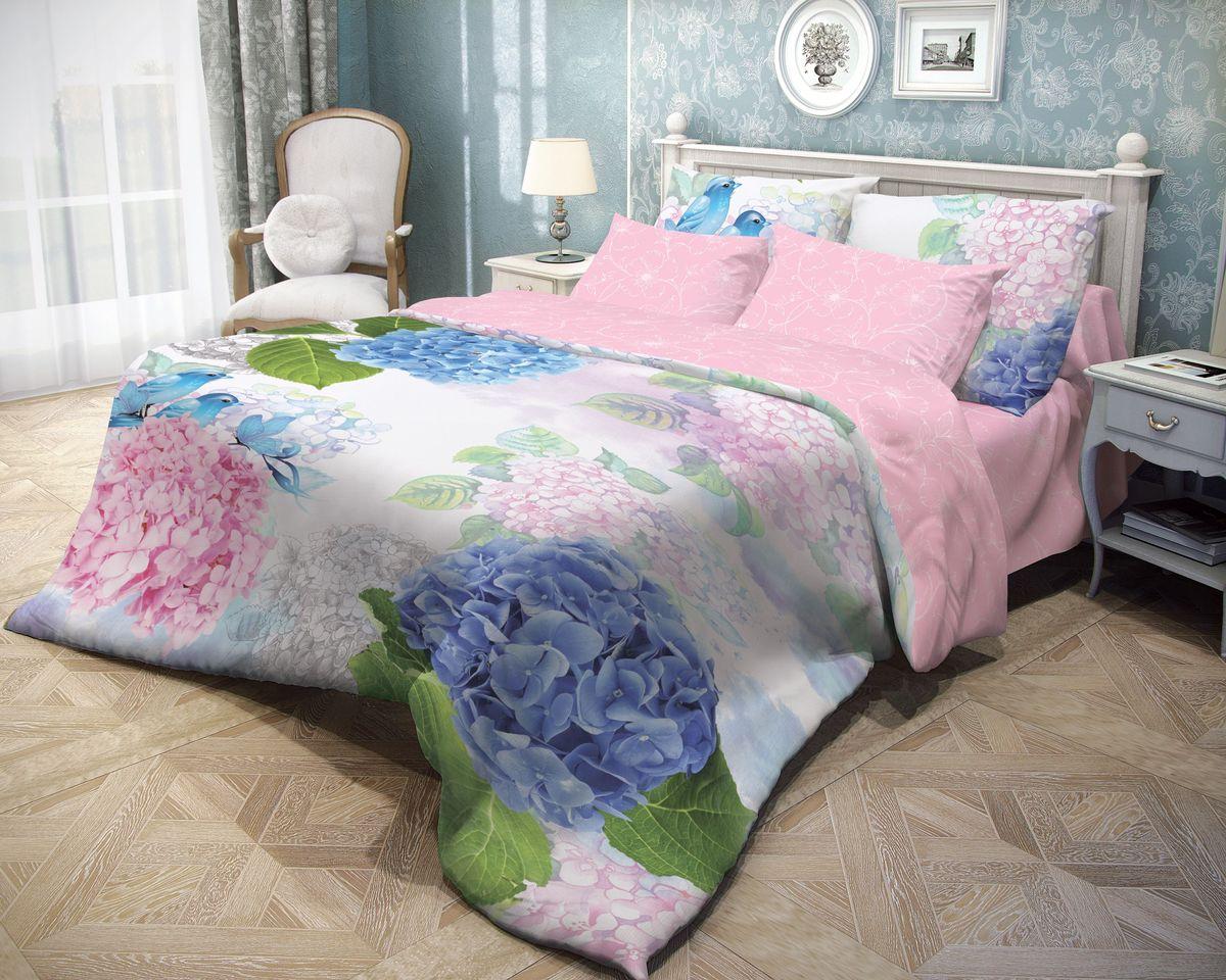 Комплект белья Волшебная ночь Spring Melody, 2-спальный с простыней на резинке, наволочки 70х70, цвет: голубой, розовый, белый. 710623391602Роскошный комплект постельного белья Волшебная ночь Spring Melody выполнен из натурального ранфорса (100% хлопка) и оформлен оригинальным рисунком. Комплект состоит из пододеяльника, простыни и двух наволочек. Ранфорс - это новая современная гипоаллергенная ткань из натуральных хлопковых волокон, которая прекрасно впитывает влагу, очень проста в уходе, а за счет высокой прочности способна выдерживать большое количество стирок. Высочайшее качество материала гарантирует безопасность.