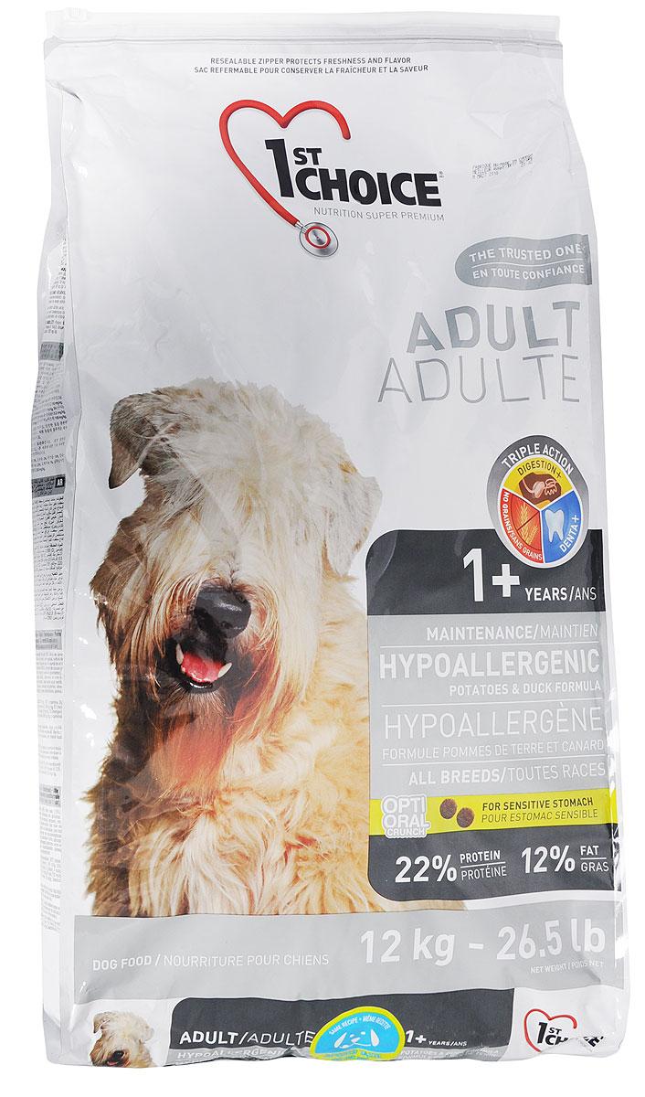Корм сухой 1st Choice для собак, гипоаллергенный, с уткой и картофелем, 12 кг0120710Корм сухой 1st Choice предназначен для собак. Свежая утка (источник гипоаллергенных протеинов) - главный ингредиент этой сбалансированной и вкусной формулы. Корм создан специально для собак с чувствительным желудком и страдающих пищевой аллергией. Без пшеницы, кукурузы и сои.Товар сертифицирован.