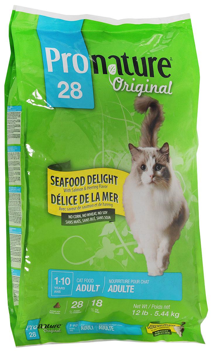 Корм сухой Pronature Original 28 для кошек, с цыпленком и морепродуктами, 5,44 кг102.6.005Специально разработанный сбалансированный корм Pronature Original 28 с цыпленком и морепродуктами оптимально поддерживает физическую форму и здоровье взрослых животных. Уникальная текстура и неповторимый вкус каждой гранулы обязательно доставит им удовольствие. Pronature Original 28 предлагает вашему четвероногому другу вкусное разнообразное и сбалансированное меню! Тщательно разработанная на протяжении многих лет рецептура по праву завоевала сердца домашних любимцев, принося удовольствие с каждым кусочком!Корм подходит для кошек в возрасте от 1 года до 10 лет.Товар сертифицирован.