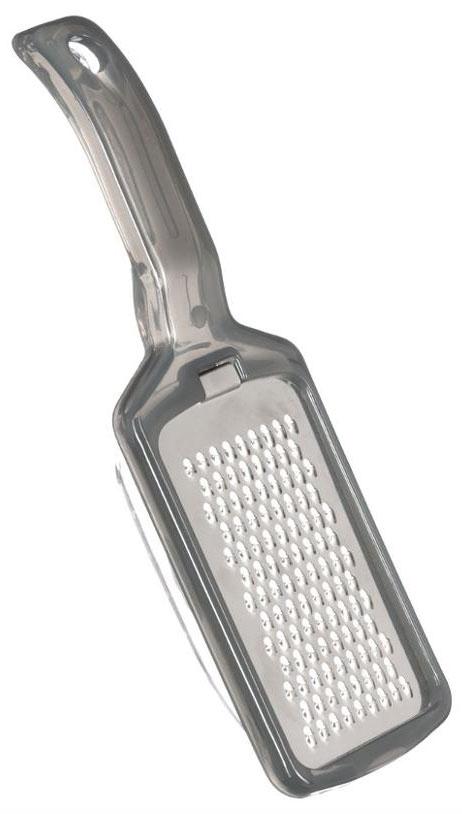 Терка JJA, с крышкой, Цвет: серый, 22 х 7 х 3,8 см115510Яркая терка с крышкой прекрасно подойдет для натирания овощей или сыров. Она очень практична в использовании, так как при натирании продукты сразу попадают внутрь прозрачной крышки и не рассыпаются. Терка имеет лезвия среднего размера и удобную ручку с отверстием для подвеса. Стильная и практичная, отличается высоким качеством заточки режущих элементов и эргономичным дизайном. Станет хорошим дополнением к аксессуара вашей кухни.