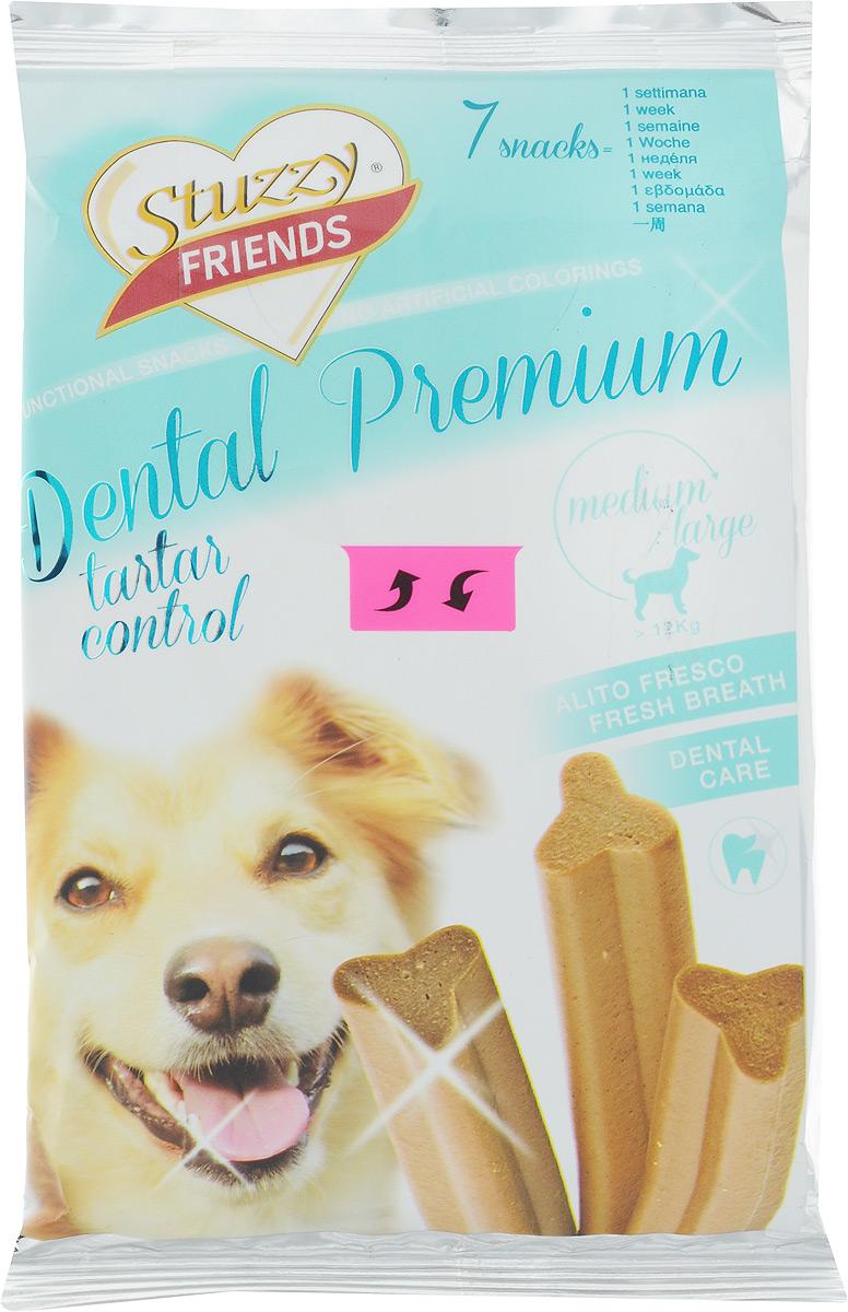 Лакомство для взрослых собак Stuzzy Friend. Dental Premium, для собак до 12 кг, 210 г, 7 шт0120710Палочки Stuzzy Friends. Dental Premium - вкусное и здоровое угощение для собак. Лакомство обогащено таурином и витамином Е для поддержания правильной работы сердца и иммунной системы. Инулин обеспечивает всасывание питательных веществ, а биотин способствуют великолепному внешнему виду кожи и шерсти. Оригинальная форма и текстура помогают чистить зубы собаки от налета. Не содержат искусственных красителей. Лакомство предназначено для собак миниатюрных и мелких пород до 12 кг. Товар сертифицирован.