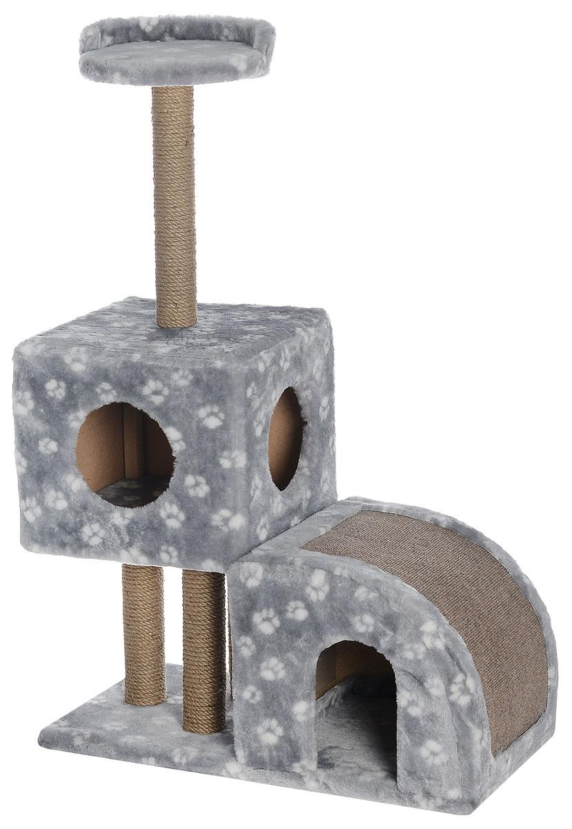 Домик-когтеточка Меридиан, двухуровневый, цвет: серый, белый, бежевый, 71 х 36 х 110 см7188Домик-когтеточка Меридиан выполнен из высококачественного ДВП и ДСП и обтянут искусственным мехом. Изделие предназначено для кошек. Ваш домашний питомец будет с удовольствием точить когти о специальные столбики, изготовленные из джута или о горку из ковролина. А отдохнуть он сможет либо на полке, либо в домиках. Домик-когтеточка Меридиан принесет пользу не только вашему питомцу, но и вам, так как он сохранит мебель от когтей и шерсти.Общий размер: 71 х 36 х 110 см.Размер нижнего домика: 36 х 36 х 32 см.Размер верхнего домика: 36 х 36 х 31 см.Размер полки: 26 х 26 см.