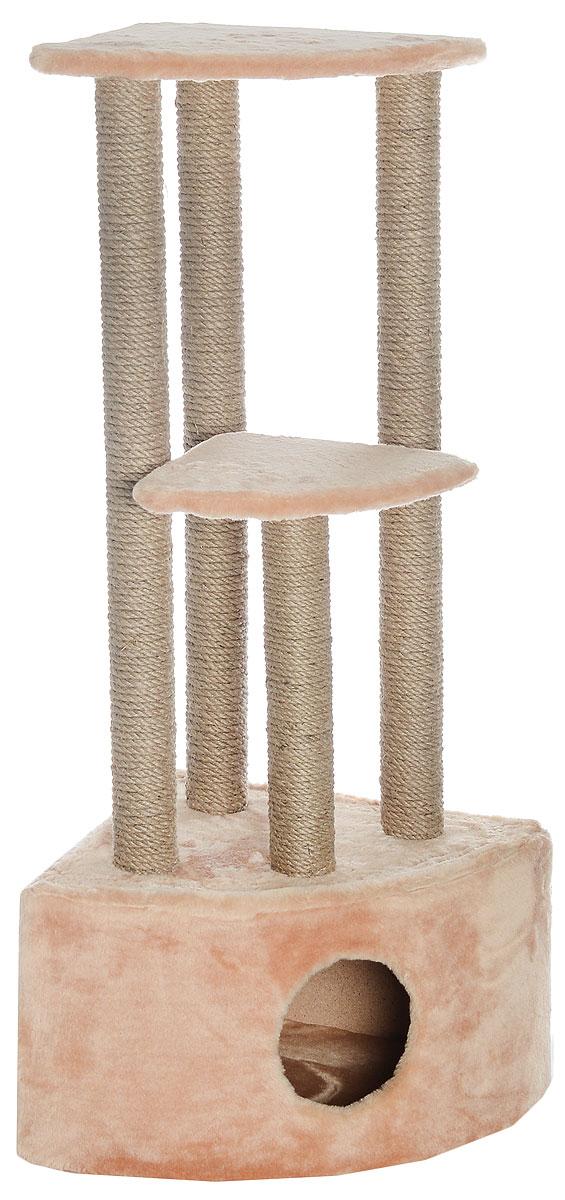 Игровой комплекс для кошек Меридиан, 3-ярусный, угловой, с домиком и когтеточкой, цвет: бежевый, 42 х 42 х 110 см0120710Игровой комплекс для кошек Меридиан выполнен из высококачественного ДВП и ДСП и обтянут искусственным мехом. Изделие предназначено для кошек. Комплекс имеет 3 яруса. Ваш домашний питомец будет с удовольствием точить когти о специальные столбики, изготовленные из джута. А отдохнуть он сможет либо на полках, либо в расположенном внизу домике.Общий размер: 42 х 42 х 110 см.Размер домика: 42 х 42 х 28 см.Размер большой полки: 35 х 35 см.Размер малой полки: 26 х 26 см.