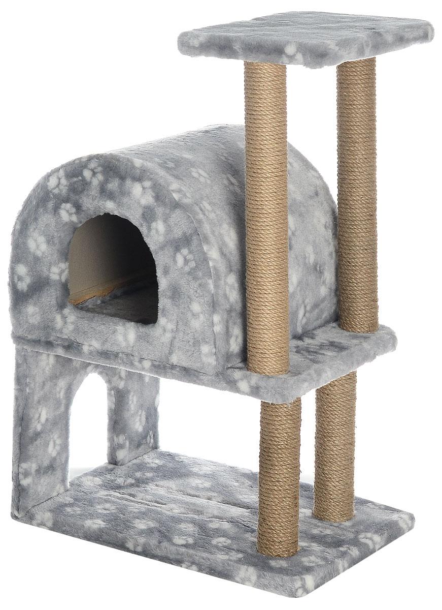 Домик-когтеточка Меридиан, полукруглый, двухэтажный, с полкой, цвет: серый, белый, бежевый, 55 х 40 х 85 см0120710Домик-когтеточка Меридиан выполнен из высококачественного ДВП и ДСП и обтянут искусственным мехом. Изделие предназначено для кошек. Ваш домашний питомец будет с удовольствием точить когти о специальные столбики, изготовленные из джута. А отдохнуть он сможет либо на полке, либо в домике. Домик-когтеточка Меридиан принесет пользу не только вашему питомцу, но и вам, так как он сохранит мебель от когтей и шерсти.Общий размер: 55 х 40 х 85 см.Размер нижнего домика: 40 х 40 х 33 см.Размер полки: 40 х 25 см.