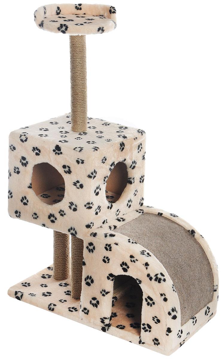 Домик-когтеточка Меридиан, двухуровневый, цвет: светло-коричневый, черный, бежевый, 71 х 36 х 110 см0120710Домик-когтеточка Меридиан выполнен из высококачественного ДВП и ДСП и обтянут искусственным мехом. Изделие предназначено для кошек. Ваш домашний питомец будет с удовольствием точить когти о специальные столбики, изготовленные из джута или о горку из ковролина. А отдохнуть он сможет либо на полке, либо в домиках. Домик-когтеточка Меридиан принесет пользу не только вашему питомцу, но и вам, так как он сохранит мебель от когтей и шерсти.Общий размер: 71 х 36 х 110 см.Размер нижнего домика: 36 х 36 х 32 см.Размер верхнего домика: 36 х 36 х 31 см.Размер полки: 26 х 26 см.