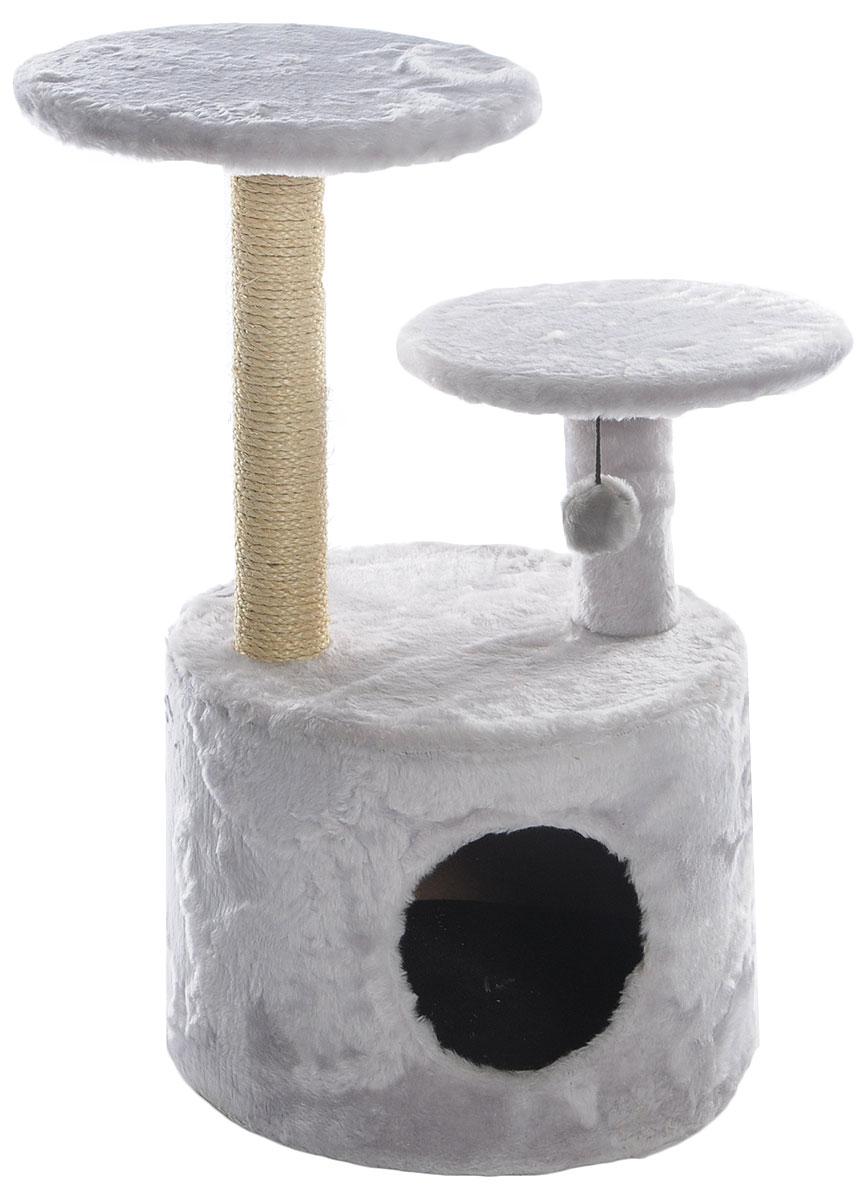 Когтеточка Lion Manufactory Барсик, цвет: серый, бежевый, 40 х 40 х 80 см12171996Игровой комплекс для кошек Lion Manufactory Барсик выполнен из высококачественного ДСП и обтянут искусственным мехом. Изделие предназначено для кошек. Ваш домашний питомец будет с удовольствием точить когти о специальный столбик, изготовленный из джута. А отдохнуть он сможет либо на полках разной высоты, либо в расположенном внизу домике. На одной из полок имеется подвесная игрушка.Общий размер: 40 х 40 х 80 см.Размер домика: 40 х 40 х 30 см.Диаметр полок: 34 см, 30 см.