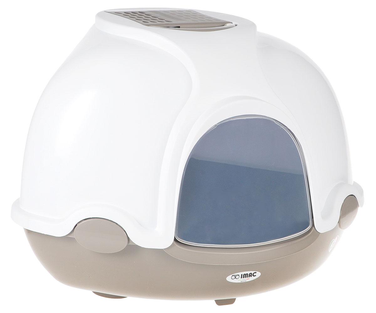 Туалет для кошек IMAC Ginger, закрытый, угловой, цвет: белый, капучино, 50 х 50 х 44,5 см12171996Закрытый угловой туалет для кошек IMAC Ginger выполнен из высококачественного пластика. Он довольно вместительный и напоминает домик. Туалет оснащен прозрачной открывающейся дверцей, сменным угольным фильтром, совком и удобной ручкой для переноски. Такой туалет избавит ваш дом от неприятного запаха и разбросанных повсюду частичек наполнителя. Кошка в таком туалете будет чувствовать себя увереннее, ведь в этом укромном уголке ее никто не увидит. Кроме того, яркий дизайн с легкостью впишется в интерьер вашего дома. Туалет легко открывается для чистки благодаря практичным защелкам по бокам.
