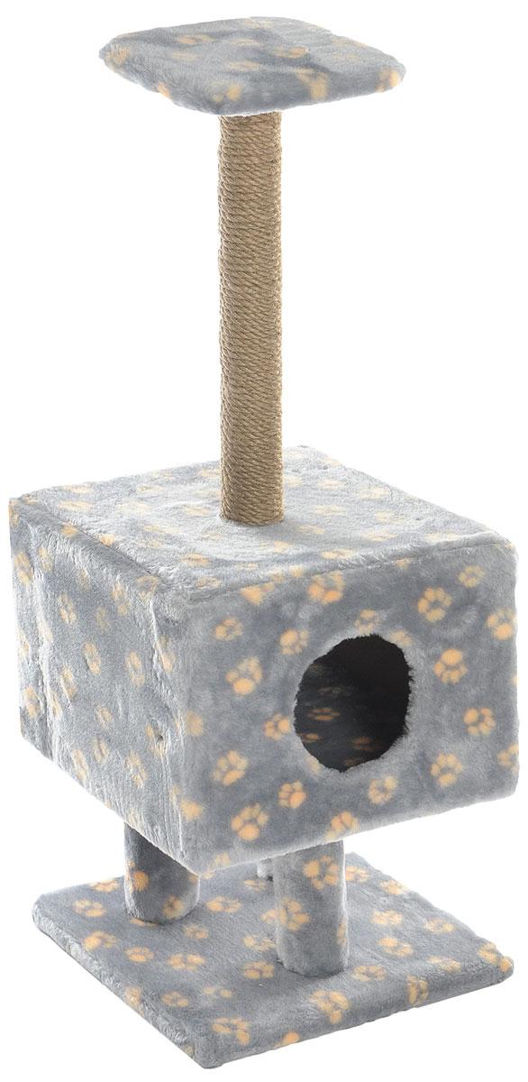 Игровой комплекс для кошек Меридиан, с домиком и когтеточкой, цвет: серый, бежевый, 39 х 39 х 101 см0120710Игровой комплекс для кошек Меридиан выполнен из высококачественного ДВП и ДСП и обтянут искусственным мехом. Изделие предназначено для кошек. Ваш домашний питомец будет с удовольствием точить когти о специальный столбик, изготовленный из джута. А отдохнуть он сможет либо на полке, находящейся наверху столбика, либо в расположенном внизу домике.Общий размер: 39 х 39 х 101 см.Размер полки: 24 х 24 см.Размер домика: 39 х 39 х 28 см.