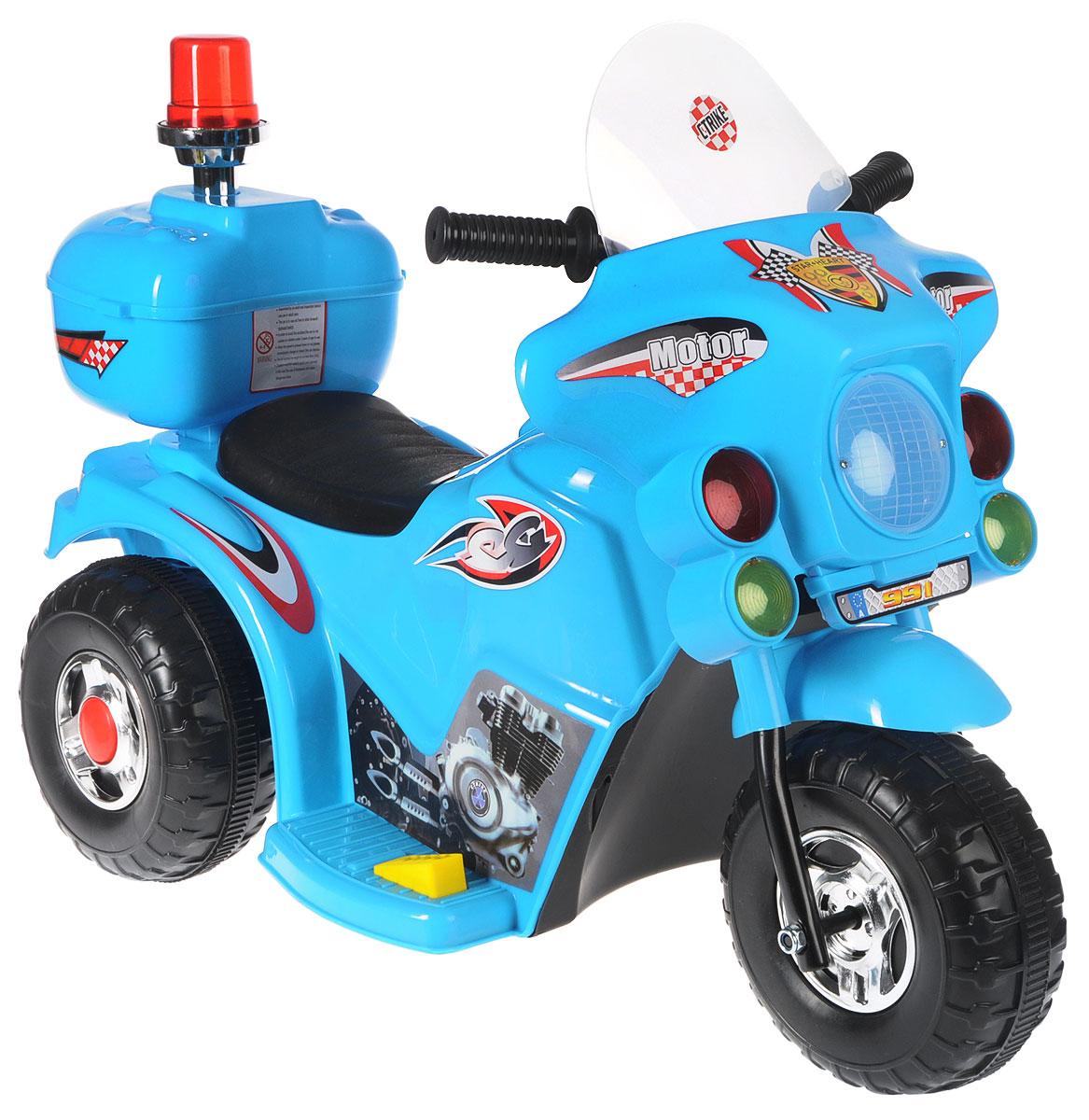 G120 Мотоцикл детский на аккумуляторе с маячком цвет голубой -  Электромобили