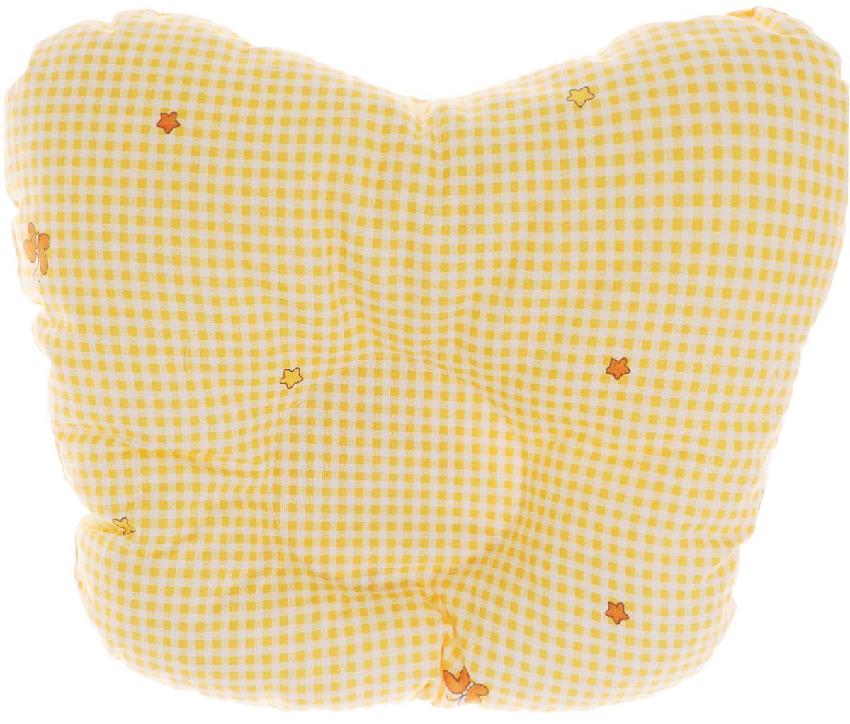 Сонный гномик Подушка анатомическая для младенцев Бабочки цвет желтый 27 х 27 см