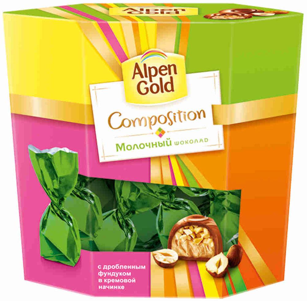 Alpen Gold Composition конфеты из молочного шоколада с дробленым фундуком, 145 г4607039270662Набор Alpen Gold. Composition представляет собой традиционные конфеты с дробленым фундуком и воздушной сливочной начинкой.