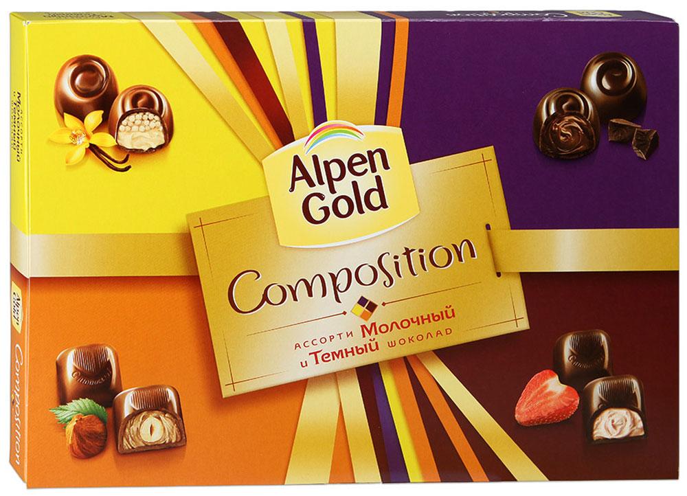 Alpen Gold Composition конфеты шоколадные ассорти, 190 г4650061331566Набор Alpen Gold. Composition представляет собой набор из четырех видов традиционных конфет. Это конфеты с шоколадной начинкой со вкусом капучино, с ванильной начинкой и воздушным рисом, с цельным фундуком в кремовой начинке, с дробленым фундуком в кремовой начинке. В коробке по пять конфет каждого вида.