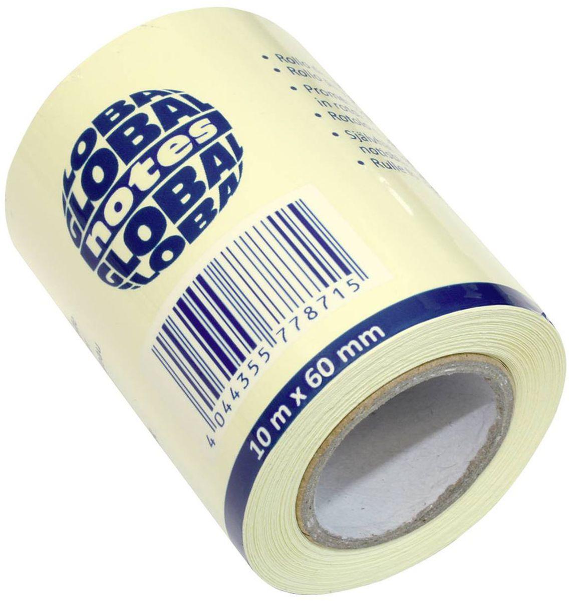 Global Notes Бумага для заметок с липким слоем цвет желтый 60 мм х 10 м 3620013089Бумага для заметок с липким слоем, разм. 60 мм х10 м, желтая, в роле, запасной блок для арт. 362401