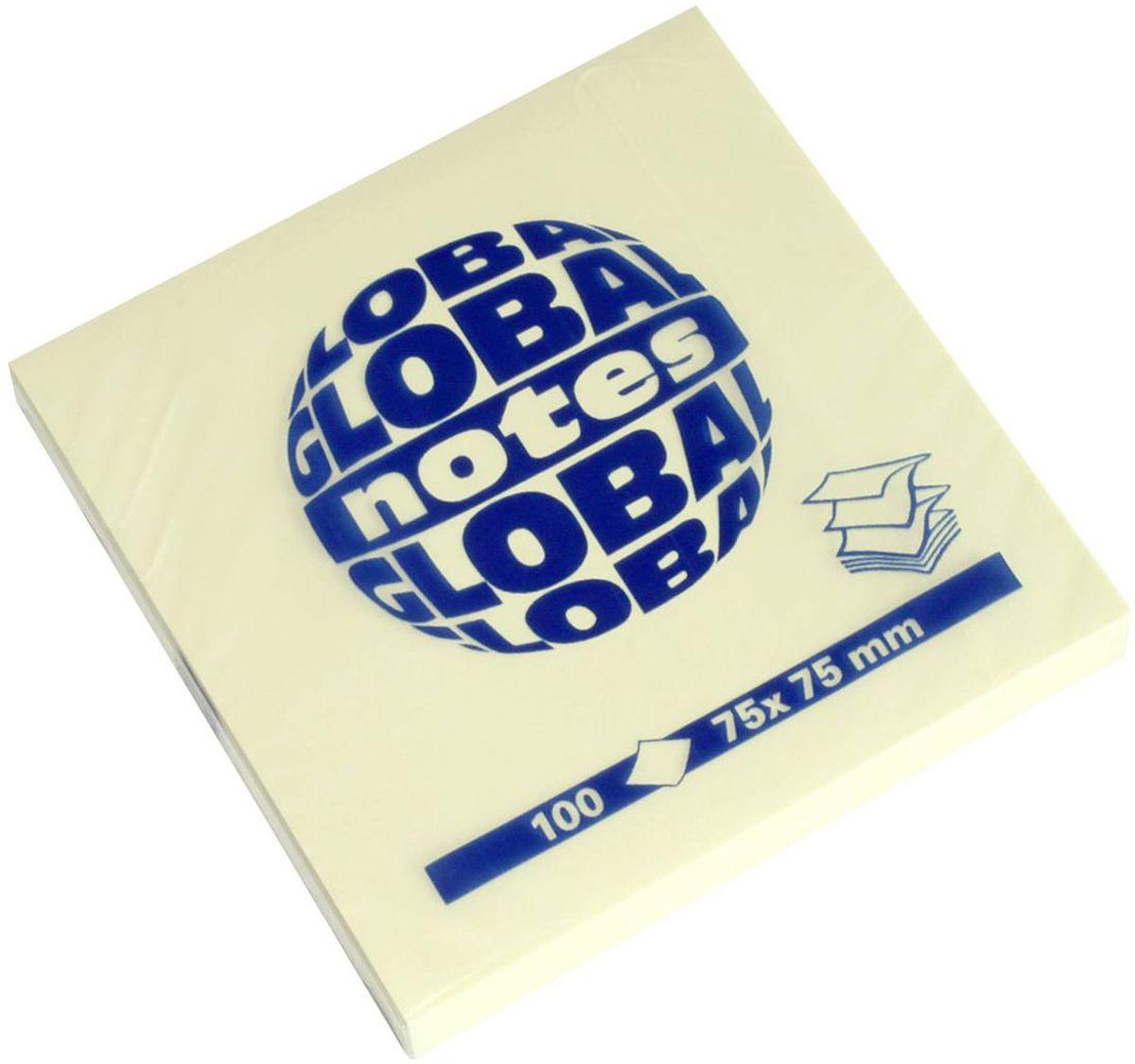 Global Notes Бумага для заметок с липким слоем цвет желтый 100 листов