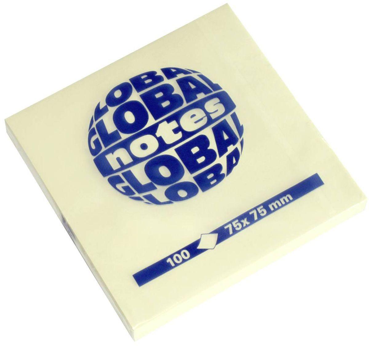 Global Notes Бумага для заметок с липким слоем цвет желтый 7,5 х 7,5 см 100 листов 36540172523WDБумага для заметок с липким краем Global Notes - это удобное и практичное решение для быстрой записи информации дома или на работе.Качественная клеевая полоса рассчитана на крепление к любой поверхности, позволяет приклеивать и отклеивать листок неограниченное количество раз, не оставляя следов. Блок состоит из 100 листов бумаги желтого пастельного цвета.Размер блока - 75 х 75 мм.Плотность бумаги 70г/м2.