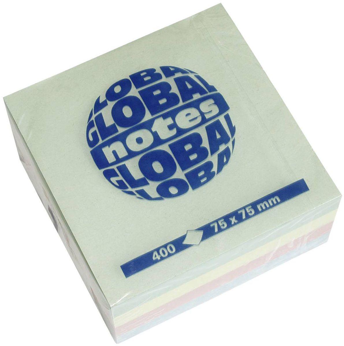 Global Notes Бумага для заметок с липким слоем Радуга 400 листов07034154-х цветная яркая. В блоке бумажки ярко-розового, желтого, голубого и зеленого цвета. Размер 75х75 мм. В блоке 400 листовПлотность бумаги 70гр/м2