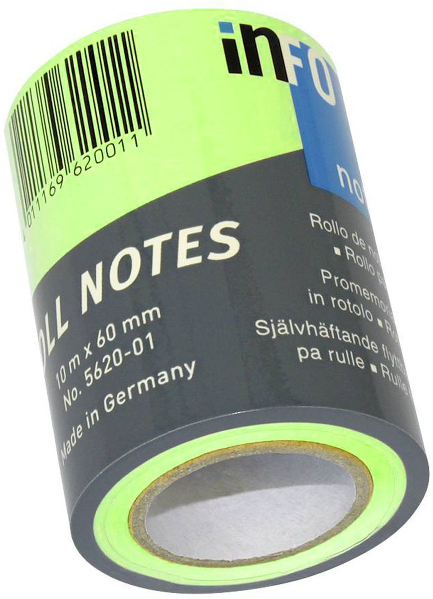 Global Notes Бумага для заметок с липким слоем цвет салатовый 60 мм х 10 м0703415Бумага для заметок в рулоне для диспенсера 562401, размер 60ммх10м, салатовая