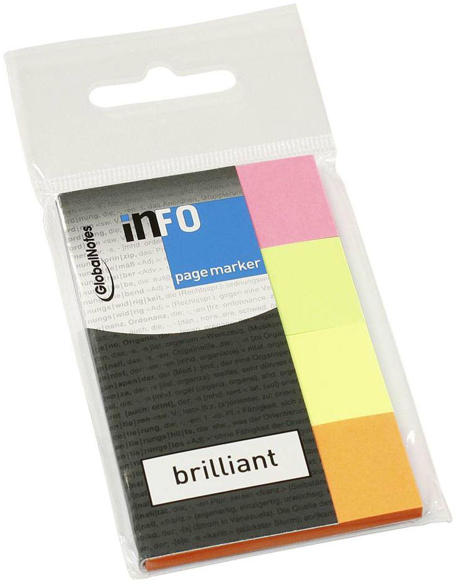 Global Notes Блок-закладка с липким слоем 160 листов 56703972523WDБумажные закладки с липким слоем предназначены для наиболее эффективного выделения важной информации без повреждения книги или документа. Идеально подходят для быстрой и эффективной работы - просто выдели и найди. Закладки можно переклеивать несколько раз. 4 цвета по 40 штук. Размер 20х50 ммТолщина бумаги 50 мкр.