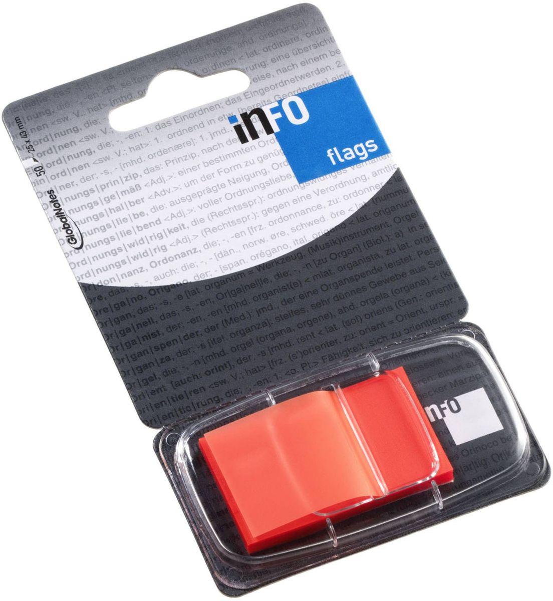 Global Notes Блок-закладка с липким слоем цвет оранжевый 50 листов165139Пластиковые закладки предназначены для наиболее эффективного выделения важной информации без повреждения книги или документа. Идеально подходят для быстрой и эффективной работы - просто выдели и найди. Закладки можно переклеивать несколько раз. Упакованы в компактный пластиковый диспенсер с европодвесом по 50 штук. Размер 25х43 мм. Цвет - оранжевый