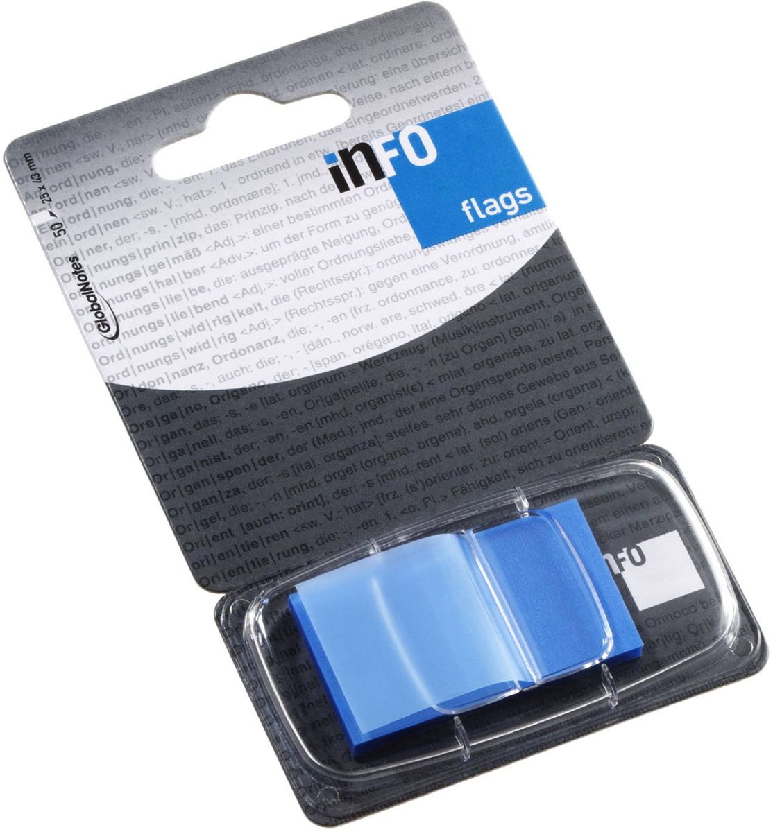 Global Notes Блок-закладка с липким слоем цвет голубой 50 листов2010440Пластиковые закладки предназначены для наиболее эффективного выделения важной информации без повреждения книги или документа. Идеально подходят для быстрой и эффективной работы - просто выдели и найди. Закладки можно переклеивать несколько раз. Упакованы в компактный пластиковый диспенсер с европодвесом по 50 штук. Размер 25х43 мм. Цвет - голубой