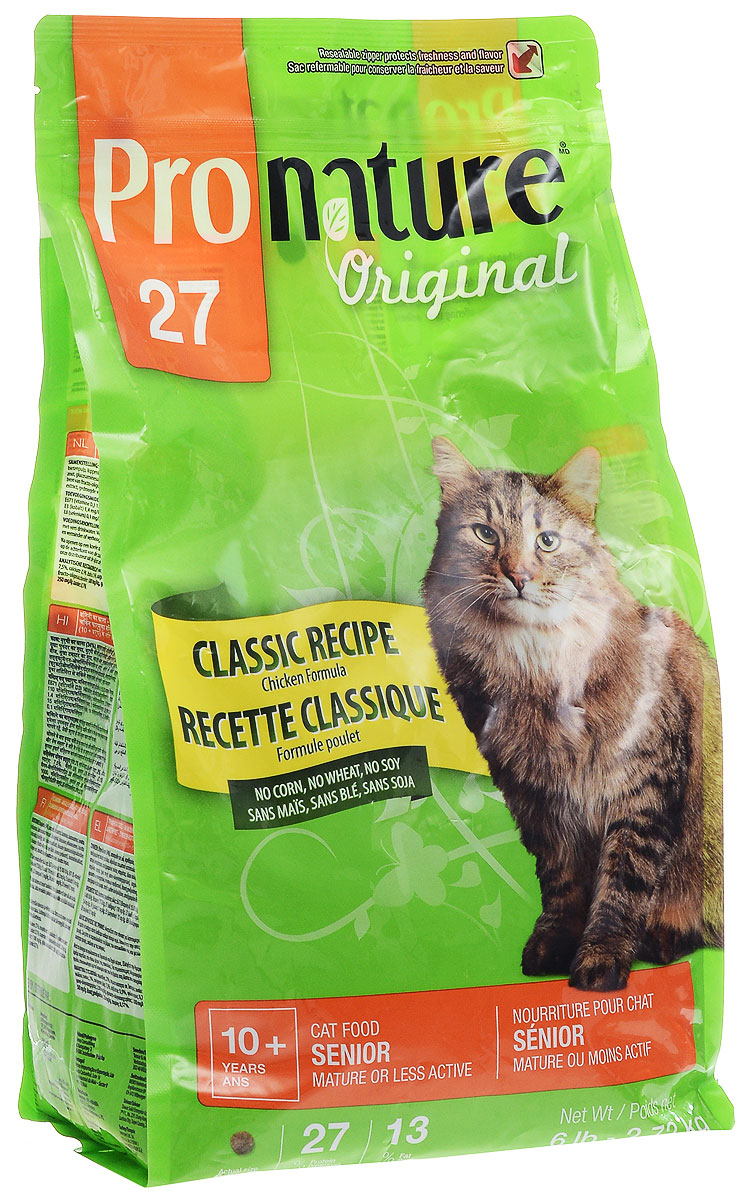 Корм сухой Pronature Classic Recipe для пожилых кошек зрелого возраста или малоактивных, с курицей, 2,72 кг0120710Сухой корм Pronature Classic Recipe является полнорационным кормом для пожилых кошек зрелого возраста (от 10 лет и старше) или малоактивных.Корм Pronature приготовлен из тщательно отобранных компонентов, обогащен уникальной смесью экстрактов целебных трав, овощей и ягод, является идеальным сухим кормом класса премиум для кошек и собак. Уникальный состав кормов Pronature, в котором нет сои, красителей, искусственных ароматизаторов и консервантов, гарантирует оптимальное развитие вашего животного на каждом этапе его жизни.Товар сертифицирован.