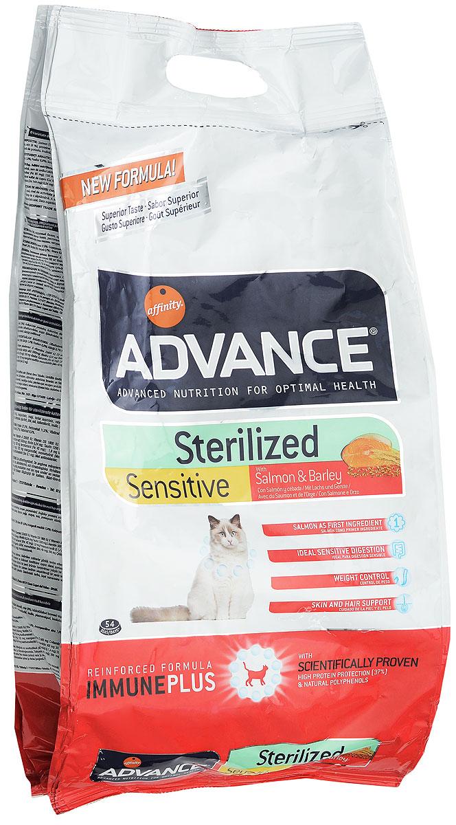 Корм сухой Advance Sterilized, для стерилизованных кошек, ячмень и лосось, 3 кг0120710Сухой корм Advance Sterilized является полнорационным сбалансированным кормом для кастрированных котов и стерилизованных кошек. Особенности корма Advance Sterilized: предотвращает ожирение без потери мышечной массы; уменьшает риск появление мочекаменной болезни или камней; улучшение гормональных функций.Сухой корм Advance - это высококачественная продукция, основанная на последних разработках в области диетологии и питания, чтобы поддерживать вашего любимца в отличном состоянии. Advance полностью сбалансированный корм, который обеспечивает прекрасное самочувствие животного, как внутри, так и снаружи.