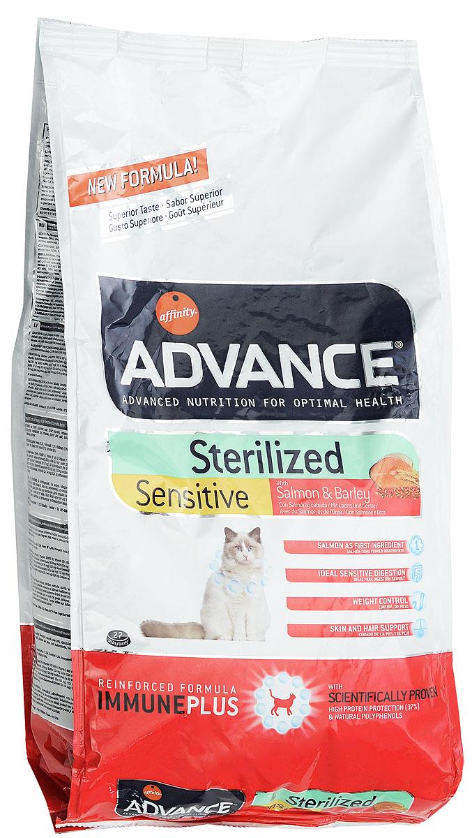 Корм сухой Advance Sterilized, для стерилизованных кошек, ячмень и лосось, 1,5 кг0120710Сухой корм Advance Sterilized является полнорационным сбалансированным кормом для кастрированных котов и стерилизованных кошек. Особенности корма Advance Sterilized: предотвращает ожирение без потери мышечной массы; уменьшает риск появление мочекаменной болезни или камней; улучшение гормональных функций.Сухой корм Advance - это высококачественная продукция, основанная на последних разработках в области диетологии и питания, чтобы поддерживать вашего любимца в отличном состоянии. Advance полностью сбалансированный корм, который обеспечивает прекрасное самочувствие животного, как внутри, так и снаружи.
