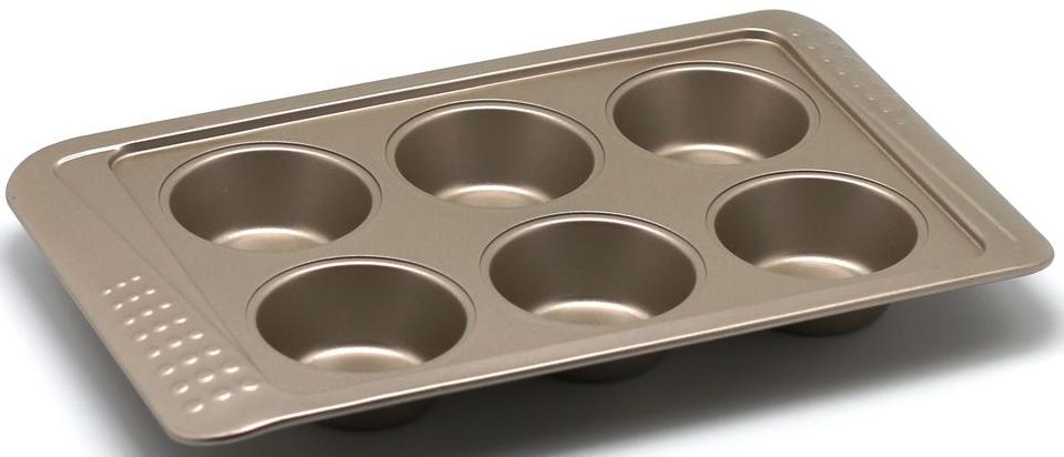 Форма для выпечки маффинов Zanussi Turin, 6 ячеек, цвет: бронзовый. ZAC35112CF94672Коллекция форм серии Turin является хорошим приобретением любой хозяйки. Товар бренда Zanussi - металлические формы - пользуется высоким спросом, его отличает высокое качество и удобный размер. Изделия выполнены из толстой углеродистой стали. Форма имеет антипригарное покрытие и утолщенные стенки, которые гарантируют равномерное пропеканиеизделия. Можно использовать в духовке до 230 градусов. Главное преимущество стальных форм - это абсолютная химическая нейтральность и экологичность.