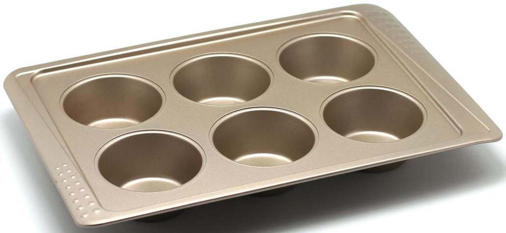 Форма для выпечки маффинов Zanussi Turin, 6 ячеек, цвет: бронзовый. ZAC39112CF94672Коллекция форм серии Turin является хорошим приобретением любой хозяйки. Товар бренда Zanussi - металлические формы - пользуется высоким спросом, его отличает высокое качество и удобный размер. Изделия выполнены из толстой углеродистой стали. Форма имеет антипригарное покрытие и утолщенные стенки, которые гарантируют равномерное пропеканиеизделия. Можно использовать в духовке до 230 градусов. Главное преимущество стальных форм - это абсолютная химическая нейтральность и экологичность.