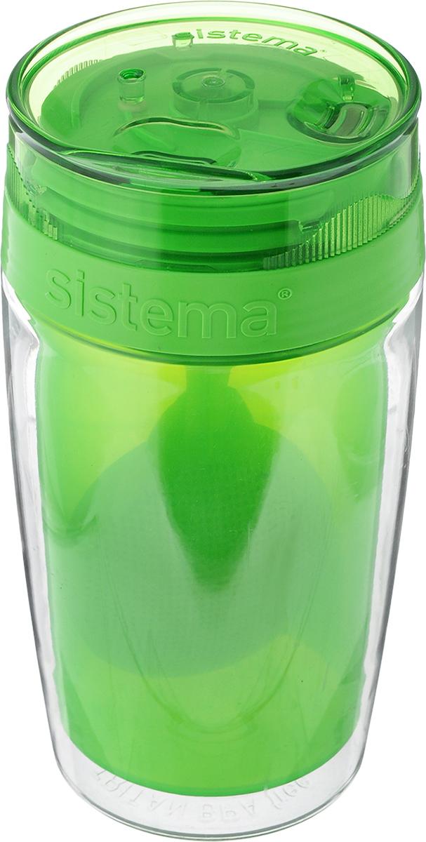 Термокружка Sistema Чай с собой, цвет: зеленый, 370 мл115510Термокружка Sistema Чай с собой изготовлена из прочного пищевого пластика без содержания фенола и других вредных примесей. Двойные стенки изделия позволяют напитку дольше оставаться горячим и защищают ваши руки от ожогов. Термокружка имеет уникальную запатентованную систему крышки TwistnSip Tea, которая предотвращает выливание жидкости и в то же время позволяет удобно пить напитки. С такой термокружкой вы сможете где угодно насладиться чаем, изделие удобно брать с собой. Можно мыть в посудомоечной машине.