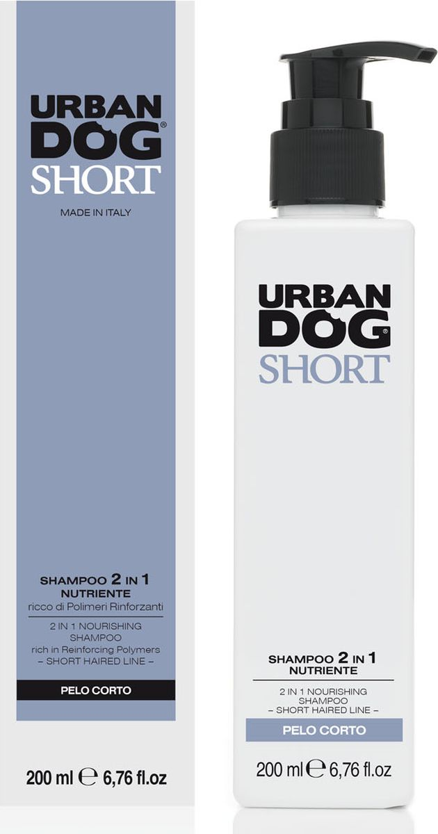 Шампунь для собак 2 в 1 Urban Dog, для короткошерстных пород, питательный, 200 млMB-04Шампунь и бальзам 2 в 1 для всех короткошерстных пород собак. Питающие и смягчающие свойства кокосового масла и персика в сочетании с укрепляющими полимерами придают шерсти мягкость и объем, очищают ее, придают аромат и легкость в расчесывании.