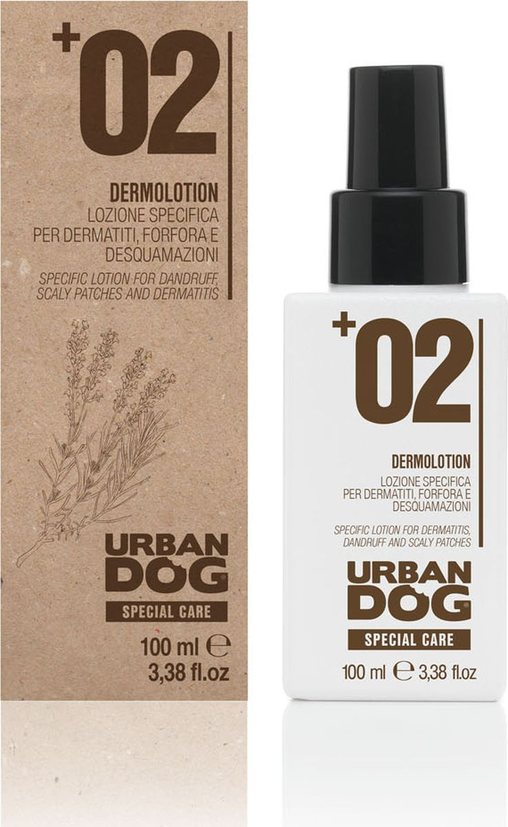 Лосьон для собак Urban Dog, от дерматитов, перхоти и шелушения, 100 мл0120710Лосьон спрей с сбалансированным и стабилизированным pH интенсивного действия для обработки кожи с воспалениями, непатологическими поверхностными покраснениями и излишним шелушением. За счет наличия среди ингредиентов эфирных масел и тщательно подобранных активных веществ продукт глубоко очищает кожу и оказывает смягчающее воздействие, что помогает предотвратить излишнее шелушение. Обладает немедленным облегчающим эффектом. Применение лосьона вместе с DERMO ШАМПУНЕМ гарантирует максимальный эффект обработки, особенно в период наибольшего стресса для кожи. В те моменты, когда кожный покров особи особо подвержен раздражению, допускается более частое использование лосьона без предварительного применения шампуня.