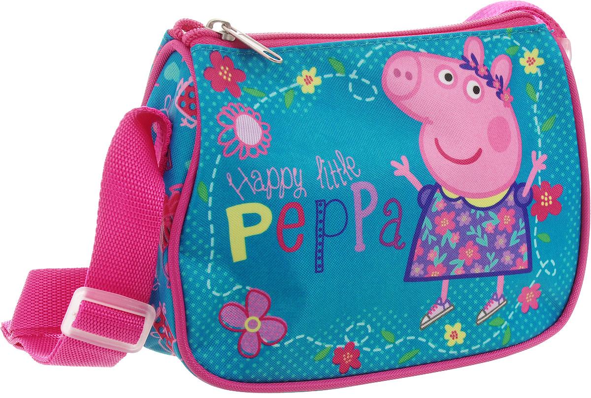 Peppa Pig Сумка детская Счастливая маленькая Пеппа32046Детская сумочка Peppa Pig обязательно понравится вашей маленькой моднице.С таким милым аксессуаром можно ходить в гости или на прогулку, а также устраивать множество увлекательных игр, всегда оставаясь в центре восхищенного внимания.Сумочка имеет одно отделение на застежке-молнии, в которое можно положить любимые игрушки или необходимые на прогулке вещи. Длину регулируемой лямки можно установить от 28 до 48 см, поэтому аксессуар подходит девочкам разного роста. Изделие декорировано ярким рисунком (сублимированной печатью), устойчивым к истиранию и выгоранию на солнце.