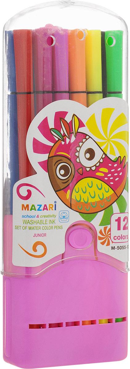 Mazari Набор фломастеров Junior цвет футляра розовый 12 цветовМ-5055-12_розовыйЯркие фломастеры Mazari Junior помогут маленькому художнику раскрыть свой творческий потенциал, рисовать и раскрашивать яркие картинки, развивая воображение, мелкую моторику и цветовосприятие.В наборе 12 разноцветных фломастеров. Корпусы фломастеров выполнены из пластика. Чернила на водной основе не токсичны, благодаря чему полностью безопасны для ребенка и имеют яркие, насыщенные цвета. Если маленький художник запачкался - не беда, ведь фломастеры отстирываются с большинства тканей. Вентилируемый колпачок надолго сохранит яркость цветов.Набор фломастеров упакован в удобный пластиковый футляр.