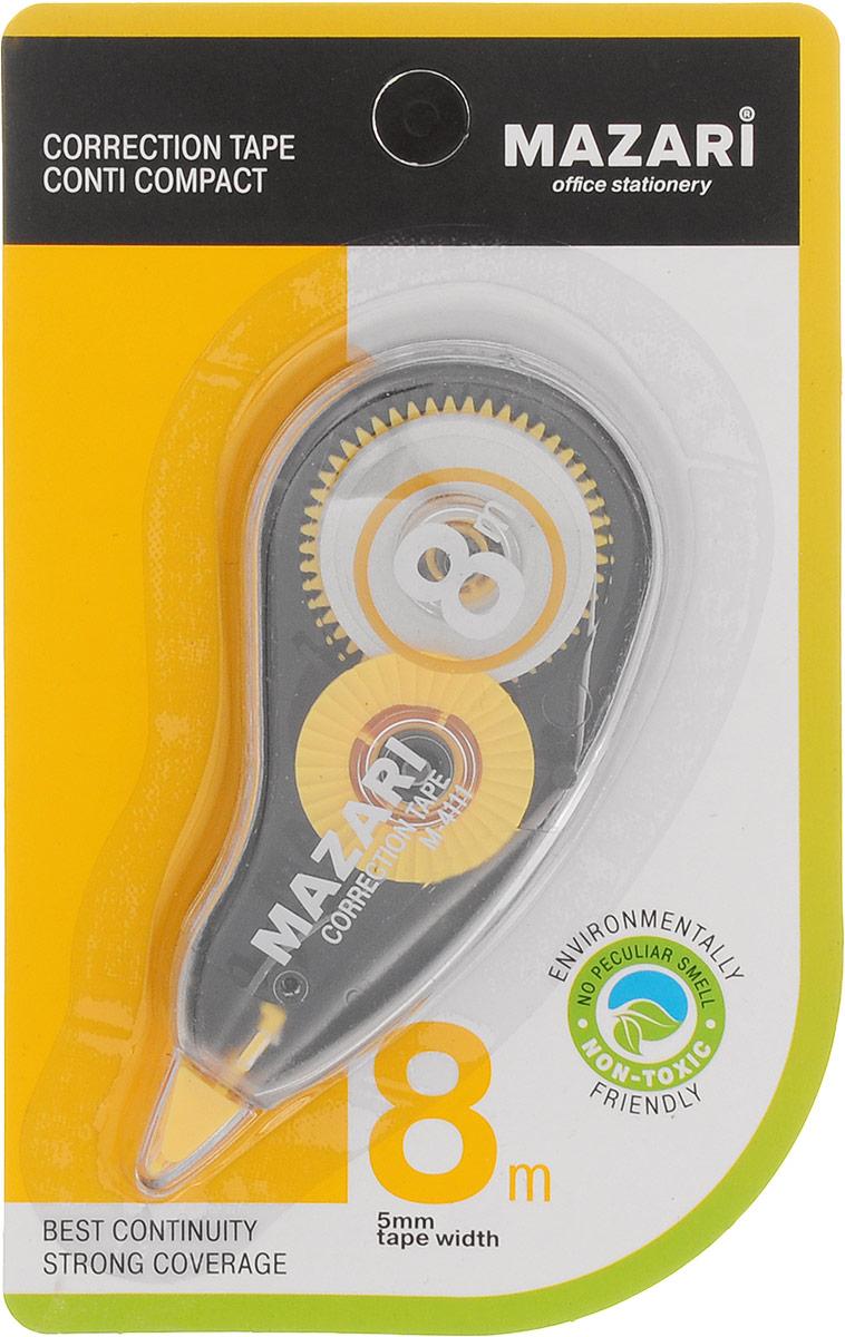 Mazari Корректирующая лента-роллер Conti Compact цвет желтый 5 x 8000 ммFS-00261Корректирующая лента- роллер Mazari Conti Compact предназначена для корректировки текста на любом виде бумаги.Имеет эргономичный корпус, высокую укрывистость. Не имеет запаха.