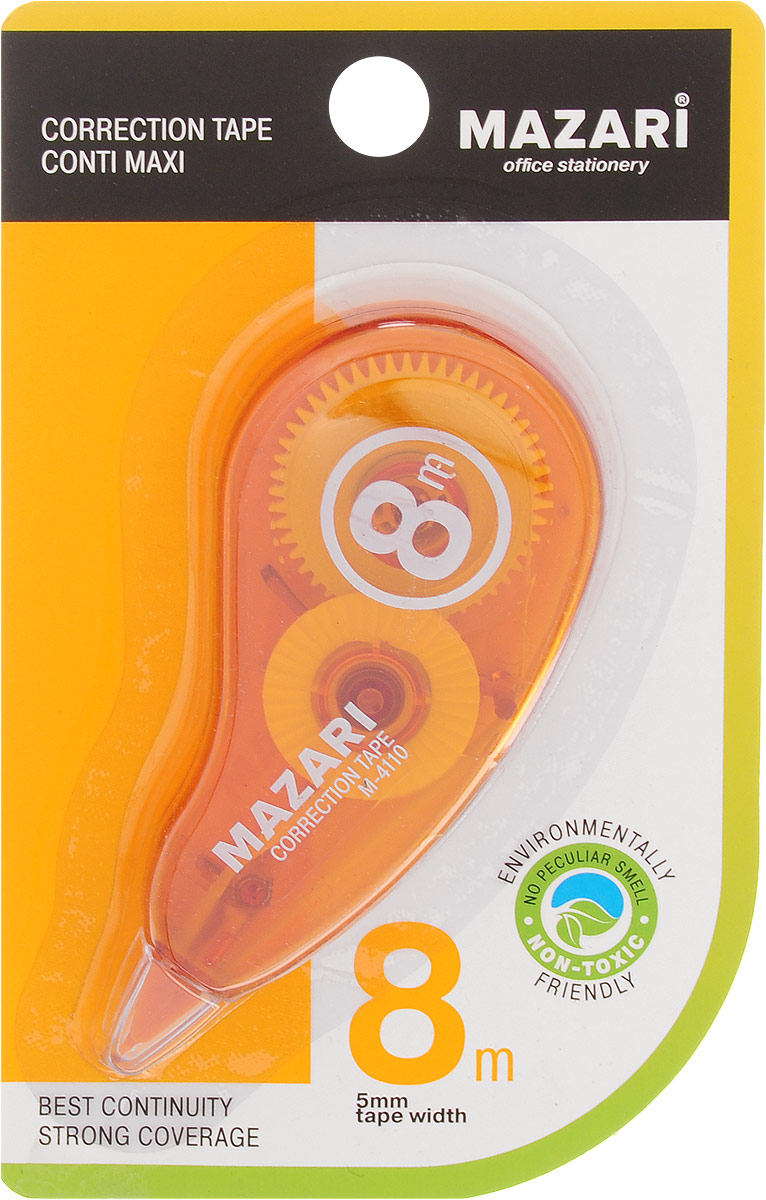 Mazari Корректирующая лента-роллер Conti Maxi цвет оранжевый 5 x 8000 ммFS-54115Корректирующая лента- роллер Mazari Conti Maxi предназначена для корректировки текста на любом виде бумаги.Имеет эргономичный корпус, высокую укрывистость. Не имеет запаха.