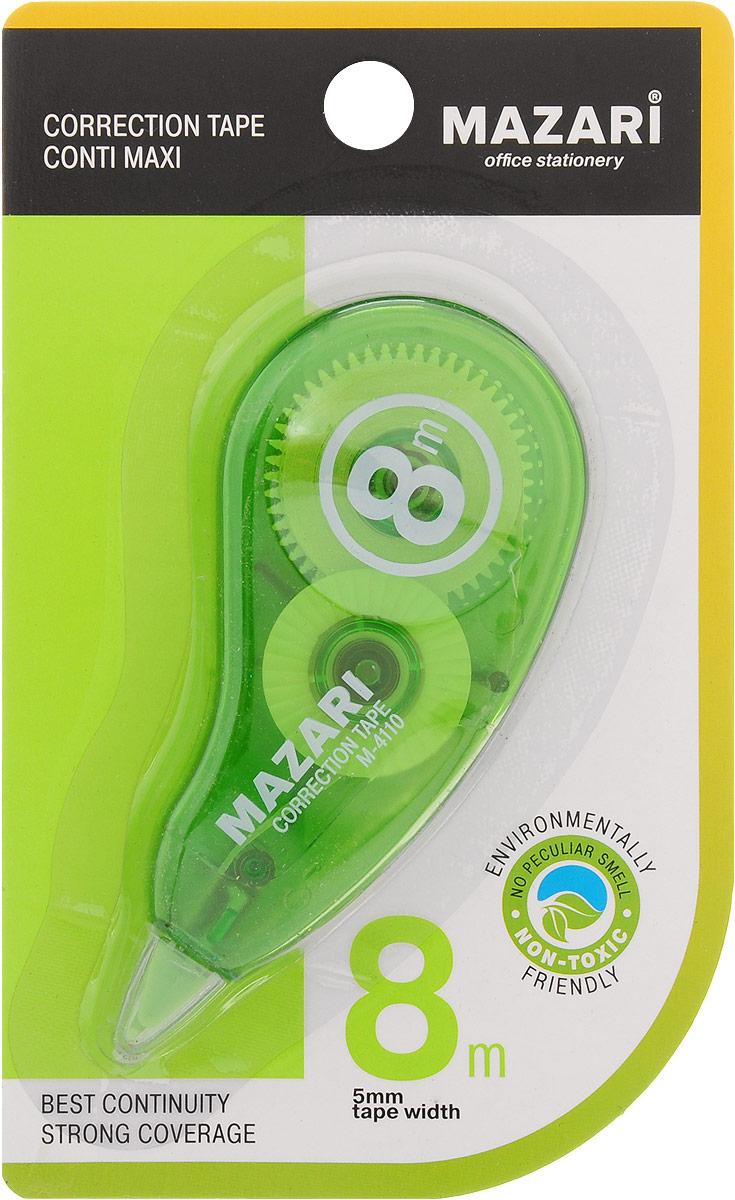 Mazari Корректирующая лента-роллер Conti Maxi цвет зеленый 5 x 8000 ммFS-00261Корректирующая лента- роллер Mazari Conti Maxi предназначена для корректировки текста на любом виде бумаги.Имеет эргономичный корпус, высокую укрывистость. Не имеет запаха.