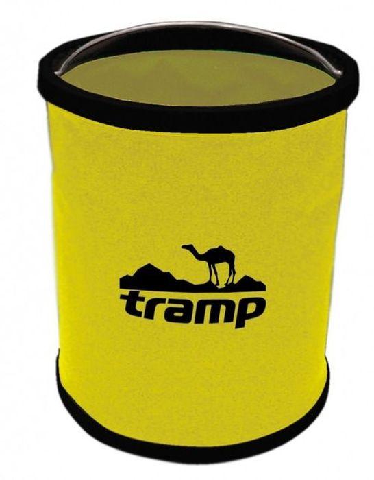 Ведро складное Tramp, цвет: желтый, 11 л. TRC-060TRC-060Складное ведро Tramp выполнено из прочного нейлона, нижнее и верхнее кольцо изготовлены из пластика, а ручка - из хрома. Благодаря этому ведро выдерживает большой вес. Более того, это 100% водонепроницаемый материал. Если переносить в нем воду или другую жидкость, ведро никогда не протечет.Объем: 11 л.